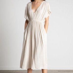 Grade & Gather Annie midi Dress in Greige Linen